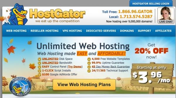 hostgator web hosting front page