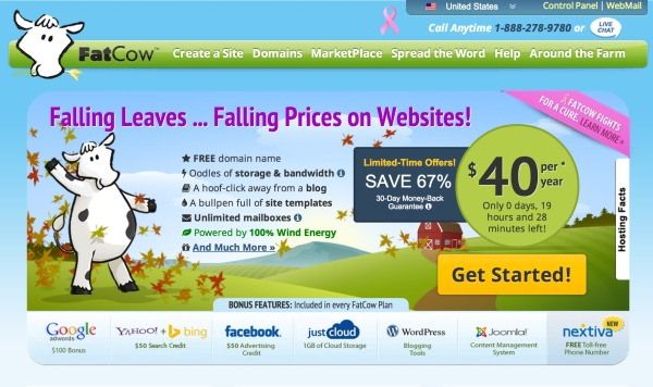 fat cow web hosting front page